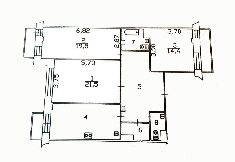 3-комн. квартиры г. Сургут, Мира, проспект 55 (р-н Северо-восточный жилой) фото 1