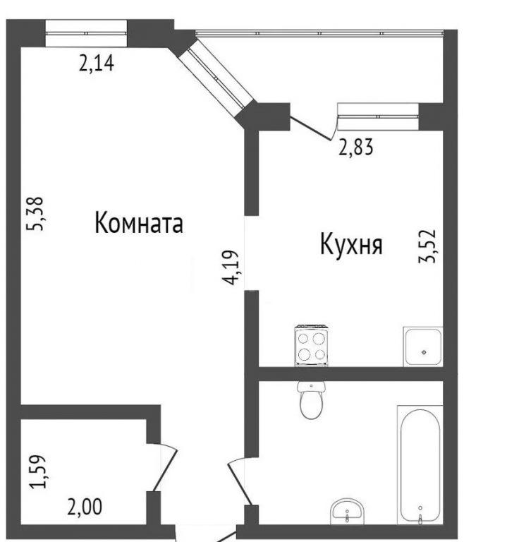 1-комн. квартиры г. Сургут, Университетская 25/2 (мкрн 20 А) фото 1