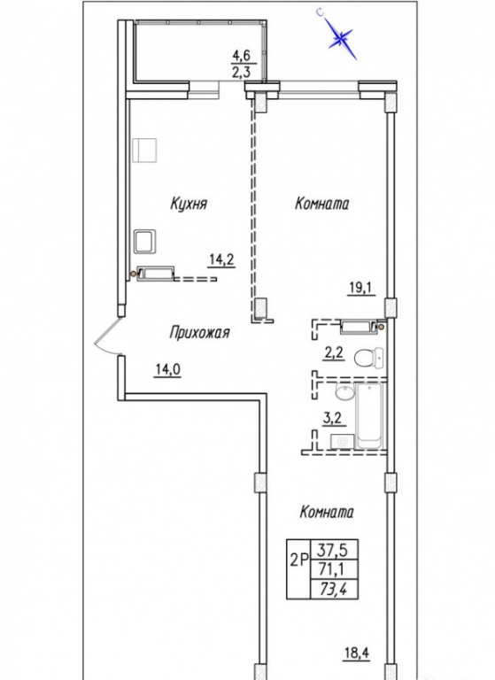 2-комн. квартиры г. Сургут, Университетская 17 стр. (р-н Северо-восточный жилой) фото 1