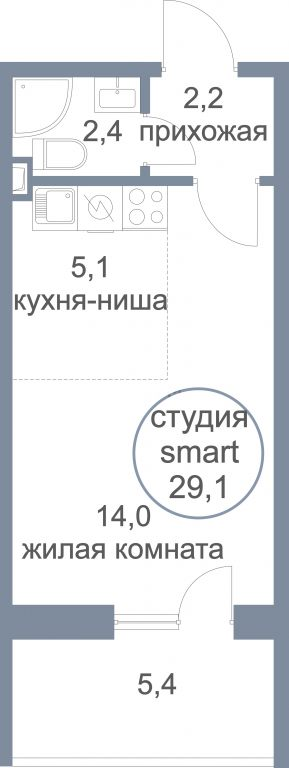 1-комн. квартиры г. Сургут, Замятинская 11/1 (р-н Северный жилой) фото 1