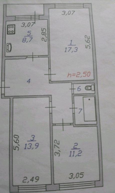3-комн. квартиры г. Сургут, Первопроходцев, проезд 14 (р-н Восточный) фото 9